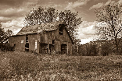 Barn In Turbulent Sky Print by Douglas Barnett