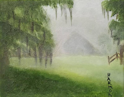 New Orleans Oil Painting - Barn On Foggy Morning by Margaret Harmon