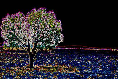 Silhoette Digital Art - Barren Tree by Charles Benavidez