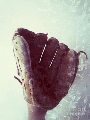 Baseball Glove Vertical Print by Ruby Hummersmith