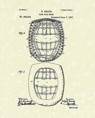 Baseball Drawings Drawing - Baseball Mask 1887 Patent Art by Prior Art Design