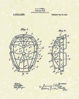 Baseball Drawings Drawing - Baseball Mask 1912 Patent Art by Prior Art Design
