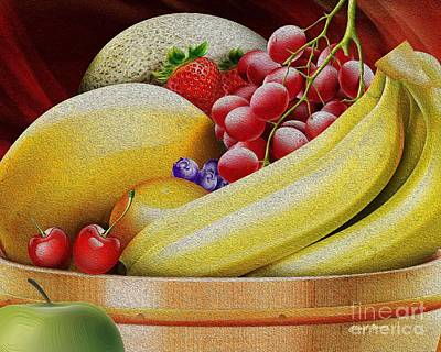 Cantaloupe Photograph - Basket Of Fruit by Cheryl Young