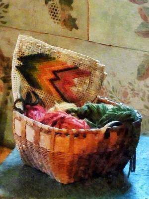 Tapestry Photograph - Basket Of Yarn And Tapestry by Susan Savad