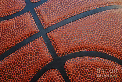 Basketball - Leather Close Up Print by Ben Haslam