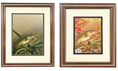 Bass Painting - Bass And Log by JQ Licensing