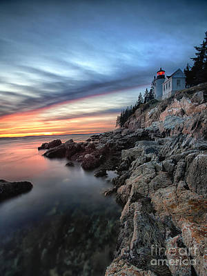 Bass Harbor Head Lighthouse At Sunset Print by George Oze