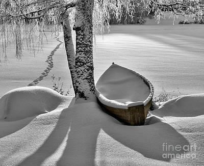Bath And Snowy Rowboat Print by Ari Salmela