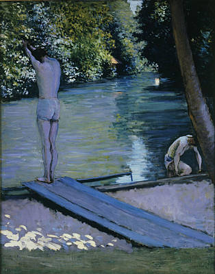 South Of France Painting - Bather About To Plunge Into The River Yerres by Gustave Caillebotte