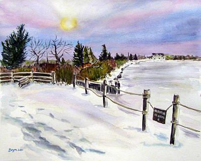 Bayville Painting - Bay Freeze by Clara Sue Beym