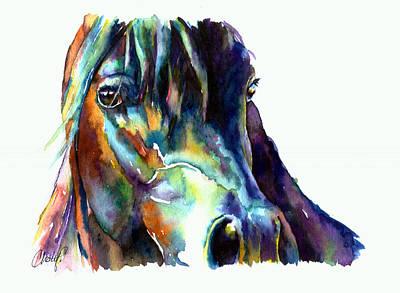 Bay Horse Portrait Print by Christy  Freeman