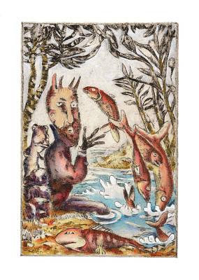 Herring Drawing - Bay Of Red Herrings by Linda Kelen