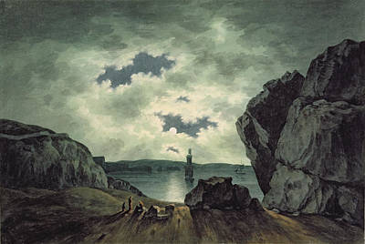 Bay Scene In Moonlight Print by John Warwick Smith