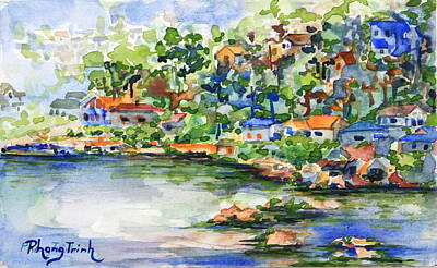 Abstract Painting - Bayside In Spring by Phong Trinh