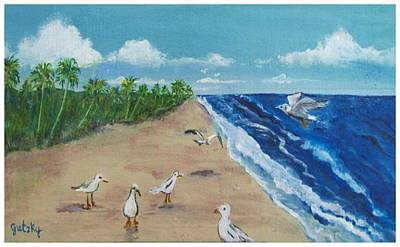 Beach Birds Print by Paintings by Gretzky