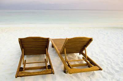 Beach Chairs, Maldives Print by Ulana Switucha