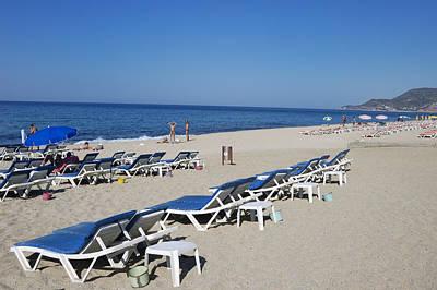 Empty Chairs Photograph - Beach Near Alanya Turkey Europe by Matthias Hauser