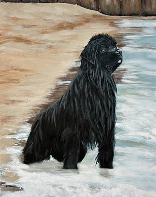 Newfie Painting - Beach Patrol by Sharon Nummer