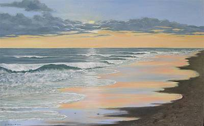 Incoming Tide Painting - Beach Walk Reflections by Kathleen McDermott