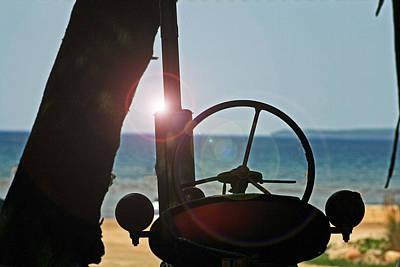 Abstract Digital Light Trails Photograph - Beached Tractor  by Cyryn Fyrcyd