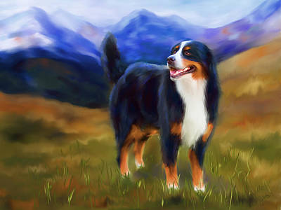 Pet Portrait Digital Art - Bear - Bernese Mountain Dog by Michelle Wrighton