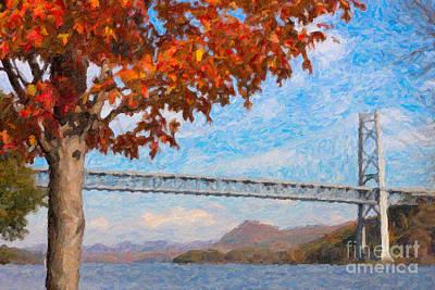 Impasto Oil Photograph - Bear Mountain Bridge Autumn Impasto by Clarence Holmes
