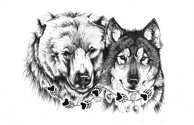 Bear Paw Drawing - Bear/wolf Family by Jordan Thompson