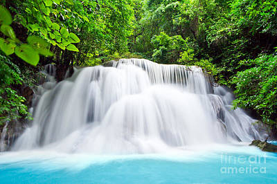 Beautiful Water Fall In The Forest Print by Mongkol Chakritthakool