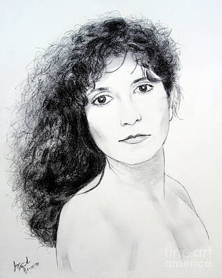 Drawing Drawing - Beauty With Long Curly Hair by Jim Fitzpatrick