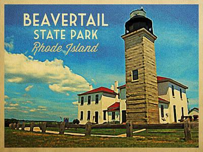 Lighthouse Digital Art - Beavertail Lighthouse Rhode Island by Flo Karp