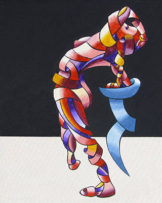 Daily Painter Painting - Becca 208-08 - Abstract Geometric Futurist Figurative Oil Painting by Mark Webster