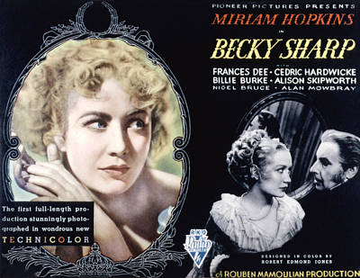 Becky Photograph - Becky Sharp, Miriam Hopkins, Cedric by Everett
