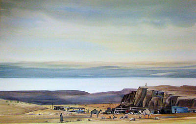 Mideast Painting - Bedouin Camp Above The Dead Sea by Matthew Chatterley