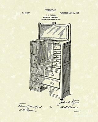 Bedroom Cabinet Design 1907 Patent Art Print by Prior Art Design