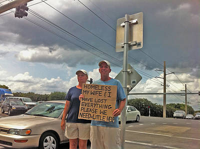 Homeless Photograph - Begging In Boca A Sign Of Our Times by Michael Dubiner