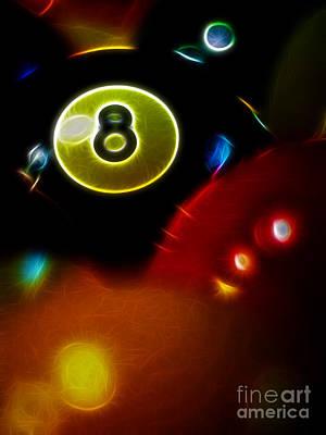 Billiard Sticks Digital Art - Behind The Eight Ball - Vertical Cut - Electric Art by Wingsdomain Art and Photography