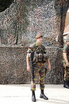Belgian Soldier On Guard Print by Luc De Jaeger