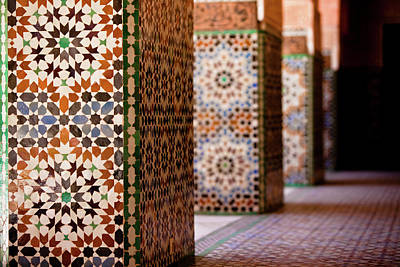 Mosaic Photograph - Ben Youssef Medersa by Kelly Cheng Travel Photography