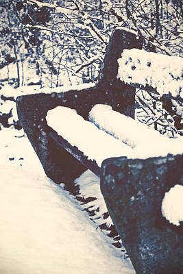 Bench With Snow Print by Joana Kruse