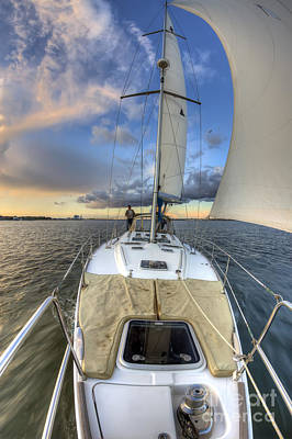 Beneteau Sailboat Sailing Sunset Print by Dustin K Ryan