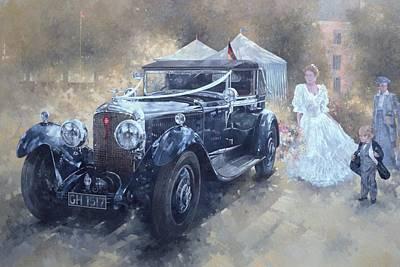 Umbrella Painting - Bentley And Bride  by Peter Miller