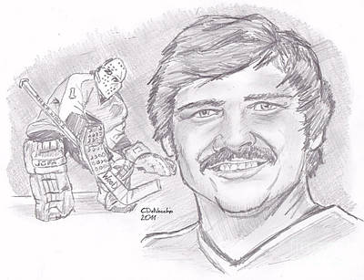 Philadelphia Flyers Drawing - Bernie Parent by Chris  DelVecchio