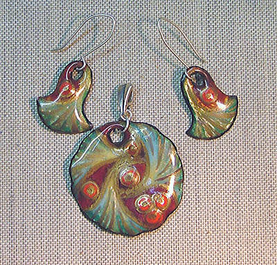 Hand Painted Pendant Jewelry - Berry Bouquet by Asya Ostrovsky