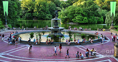 Bethesda Fountain Overlooking Central Park Pond Print by Paul Ward