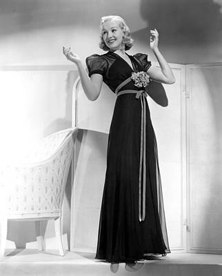 Grable Photograph - Betty Grable In Black Chiffon Dinner by Everett