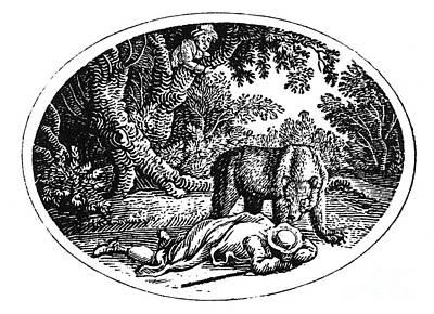 Bewick: Man And Bear Print by Granger