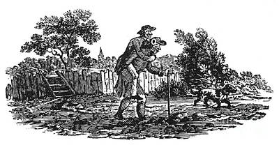 Bewick: Man Carrying Man Print by Granger