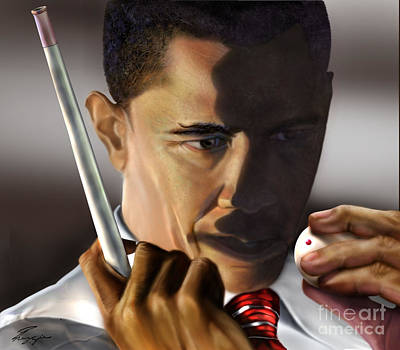 The Obamas Painting - Beyond Sharky Waters by Reggie Duffie