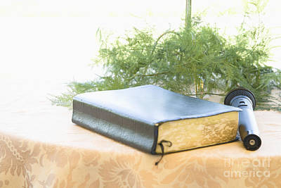 Bible And Microphone On Table Print by Ned Frisk