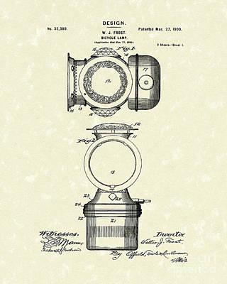 Bicycle Lamp Design 1900 Patent Art Print by Prior Art Design